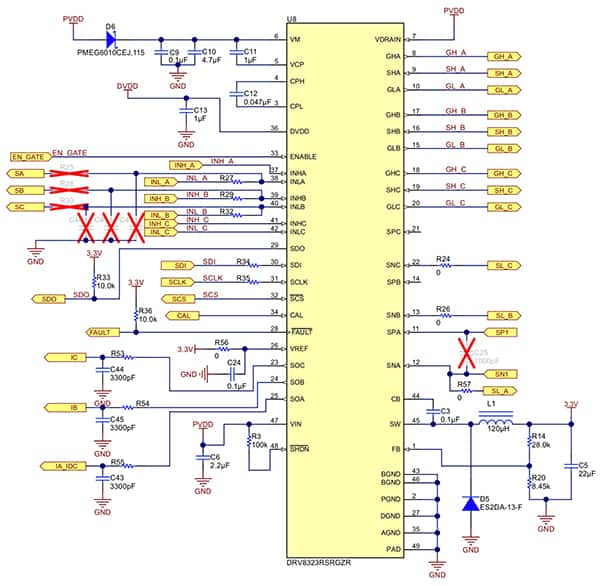 Diagram of application circuit for Texas Instruments DRV8323R gate driver